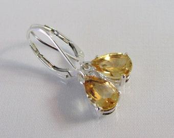 Citrine Leverback Earrings in Sterling Silver, November Birthstone Earrings, Citrine Earrings, 9x6mm Citrine Pear Gemstone, Citrine Jewelry