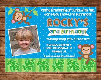 Boy or Girl Invitation Monkey Safari Birthday Party - Can personalize colors /wording - Printable File or Printed Cards