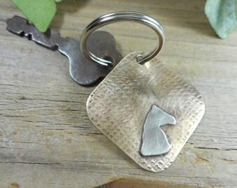 key ring,horseheadkeyring,equestriankeyring,solidbrassandsilverkeyring,giftforhim,handmadekeyring,mixedmetaldesigns,