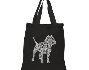 """Small Tote Bag - Created using the Words """"Pit Bull"""""""