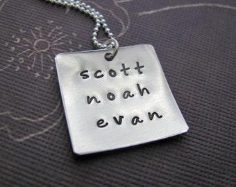 custom silver square name necklace