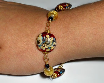 Beautiful Hand made Beaded Bracelet - Asian Flair Design - Various Murano Lampwork Beads of Red, Burgundy and Metallic Gold