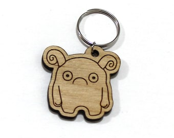 Melp the Timid Monster - Unpainted Wood Laser-Cut Keychain -