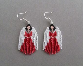 Beaded Angel Earrings in Red
