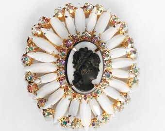 Verified DELIZZA and ELSTER / JULIANA White Milk Glass and Crystal Aurora Borealis Rhinestone Cameo Brooch or Pendant
