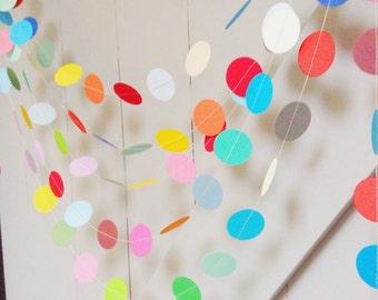 "Party Decoration, Garland, Baby Shower, Wedding Decor, Home Decor, Paper Garland, Paper Decoration, Circle Garland, Nursery Decor, 2""Circles"