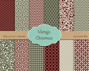 "Christmas Digital Paper: ""Vintage Christmas"" xmas digital paper, for scrapbooking, invites, cardmaking, crafts"