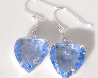 Swarovski Crystal Lt Sapphire Heart Earrings Valentines Day w Sterling Silver Hooks