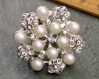 Rhinestone Brooch Crystal Silver Pearl Sparkling Wedding Brooch Bridesmaids Rhinestone Brooch Pin fa64