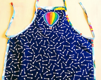 Apron, kids apron, girl's apron, gift idea, cooking apron, blue apron, boy's apron
