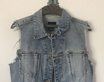 DIY 90s Limited Denim Vest \\ Boho Lace Vest \\ Denim Vest \\ Western Jacket \\ Vintage Vest \\ 90s Vest \\ 90s Denim Vest \\ Denim Vest S