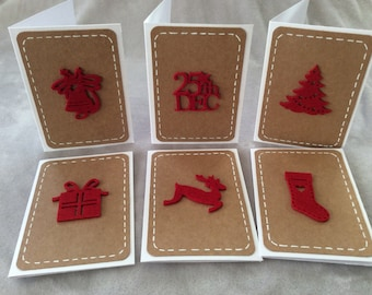Set of 6 Mini Christmas cards. Kraft, red and white.