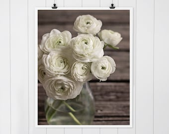 Rustic home decor, modern farmhouse decor, rustic wall decor, white flower print, Ranunculus photo, flower photography, rustic wall art