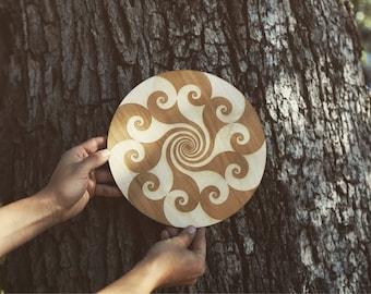 Fibonacci Spiral Laser Cut Crystal Grid Artwork
