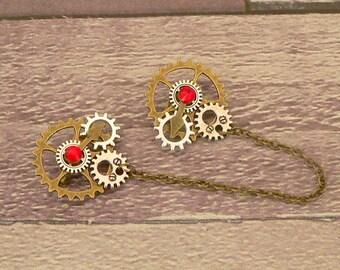 Red Steampunk Collar Pins, Sweater Pins, Steampunk Brooch, Collar Chain, Steampunk Jewellery, Lapel Pins, Collar Brooch