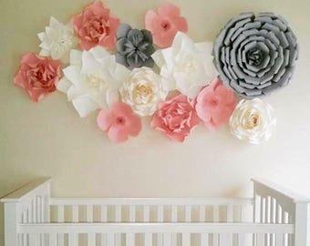 "Grey paper flower/Wedding paper flower/Baby-shower paper flower/Wall decor flower/Oversized paper flower/Paper flower set ""NURSERY ROOM"""