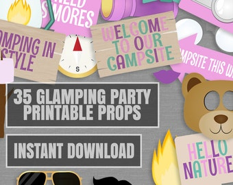 35 Glamping Party Photo Booth Props, girly Camping themed party props, pink, purple glamping party props love glamping party photobooth sign