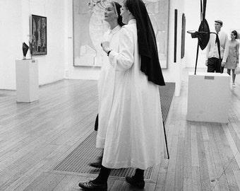 New York 1970, art gallery, black and white photograph, art show, New York City nuns, vintage photo, year 1968, wall decor