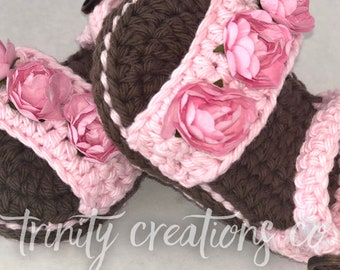 Baby Girl Sandals - Crochet Shoes - Baby Shoes - Crochet Sandals