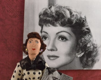 Claudette Colbert Doll Miniature Old Hollywood Film Star Actress