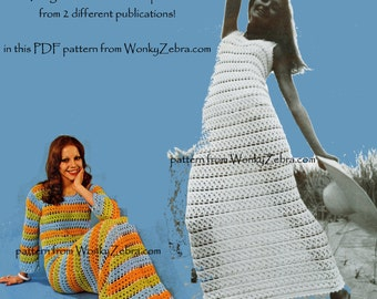 Vintage Crochet Pattern 183 PDF Patio Maxi Dress from WonkyZebra