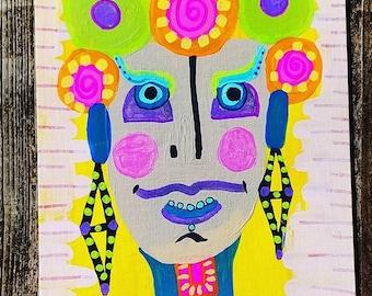 Bohemian Rosita Girl Original Acrylic Painting
