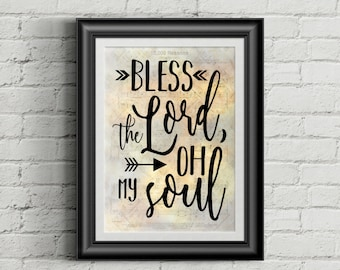 Bless The Lord Oh My Soul Digital Hymn Print