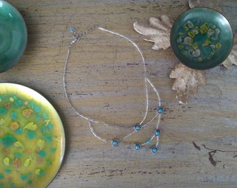 1/3 Series of Silver Glass Beaded Necklace