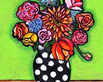Retro Lime Bouquet polka dots Shelagh Duffett