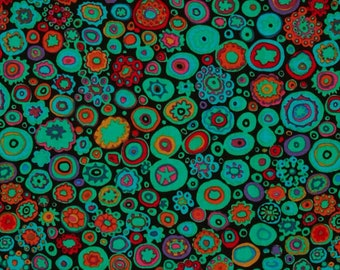 Free Spirit Kaffe Fassett Paperweight Jewel Green Red Orange spot Circles GP20 JEWEL Fabric BTY 1 yd