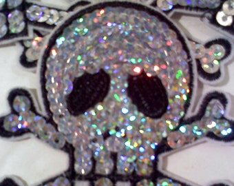 Iron On Patch-Sequined Skull Patch- SILVER