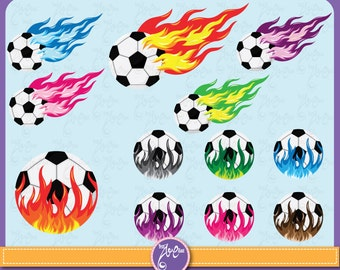 Soccer Ball Clip Art, ball design,Fire ball, icon clip art Cards, Invitations,Party,Spt001 Commercial and Personal Use