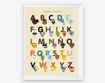 Spanish Alphabet Poster A-Z, Nursery Art, Animal Children Room Decor, Classroom Decor