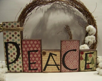 PEACE Wooden Block Set Handmade Christmas Home Decor