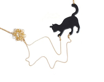 Cat playing necklace, statement necklace, animal lover jewelry, Black cat playing with wool, acrylic silhouette pendant of a cat.