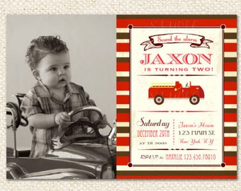 Fireman Fire Truck Birthday Invitations