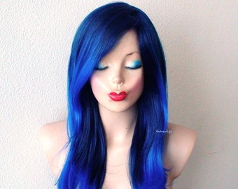 Ombre Blue wig. Lace front wig. Long wavy hair long side bangs wig. Durable Heat friendly wig for everyday wear or Cosplay