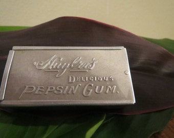 Cute Huyler's Delicious Pepsin Gum 800 Silver Case Full of Embroidery Needles