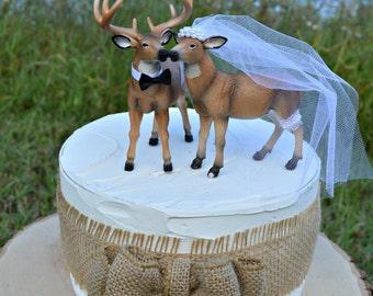 Deer-wedding-cake topper-lover-ivory-bride-groom-western-camouflage-buck-doe-hunting-hunter-woodland-rustic-Mr and Mrs-deer hunting-deer