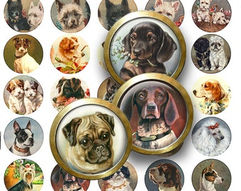 1.25  in Bottle Cap Pendant Circle Dog Puppy Images Collage sheet Scrapbooking Instant Digital Download