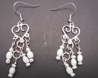 Silver and Light Blue Chandelier Earrings