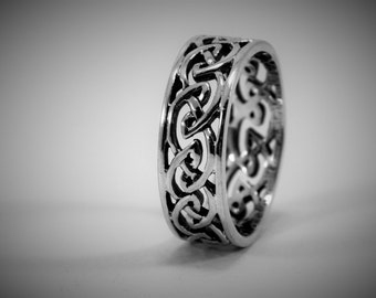 Mens Sterling Silver Celtic Weave Ring / Endless Weave / Trinity Knot / Celtic Ring / Endless Knot Ring / Triquetra Ring