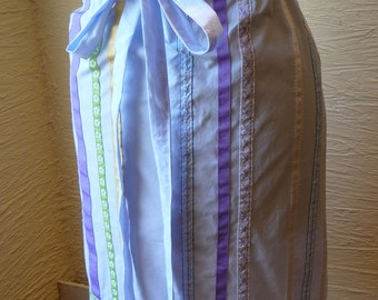 Ribbon Skirt, Handmade Skirt, Recycled Fabric, Unique Clothing, Drawstring Wais,t Baby Blue, Multi Color, Ribbon Trim,Spring Summer,upcycled