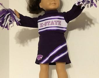 K-State Wildcats Cheerleader uniform that fits dolls like American Girl.