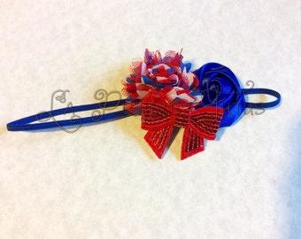 Patriotic, 4th of July, headband, shabby headband, flower headband, girls headband, toddler headband, baby headband, infant headband, prop