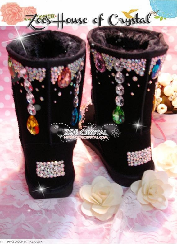 Promotion WINTER Bling and Sparkly SheepSkin Wool BOOTS w in shinning Czech or Swarovski crystal in w LOLITA Style 1097c1
