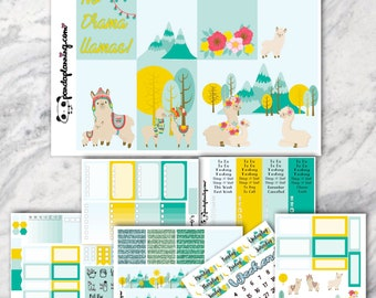 Drama Llama, Sticker kit, Erin Condren stickers, Classic Happy Planner kit, Weekly Planner Sticker Kit, Premium Matte, Glossy, planner