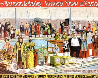 Spectacular Antique SIDESHOW Circus Poster! Freak Show Barnum Bailey CIRCUS Vintage Poster Digital Download! Ready To Print Out!