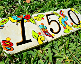 house numbers address tiles SPANISH LIMON hand painted