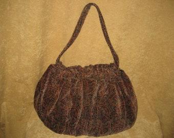 Velvet Hobo Bag Purse 70s Vintage